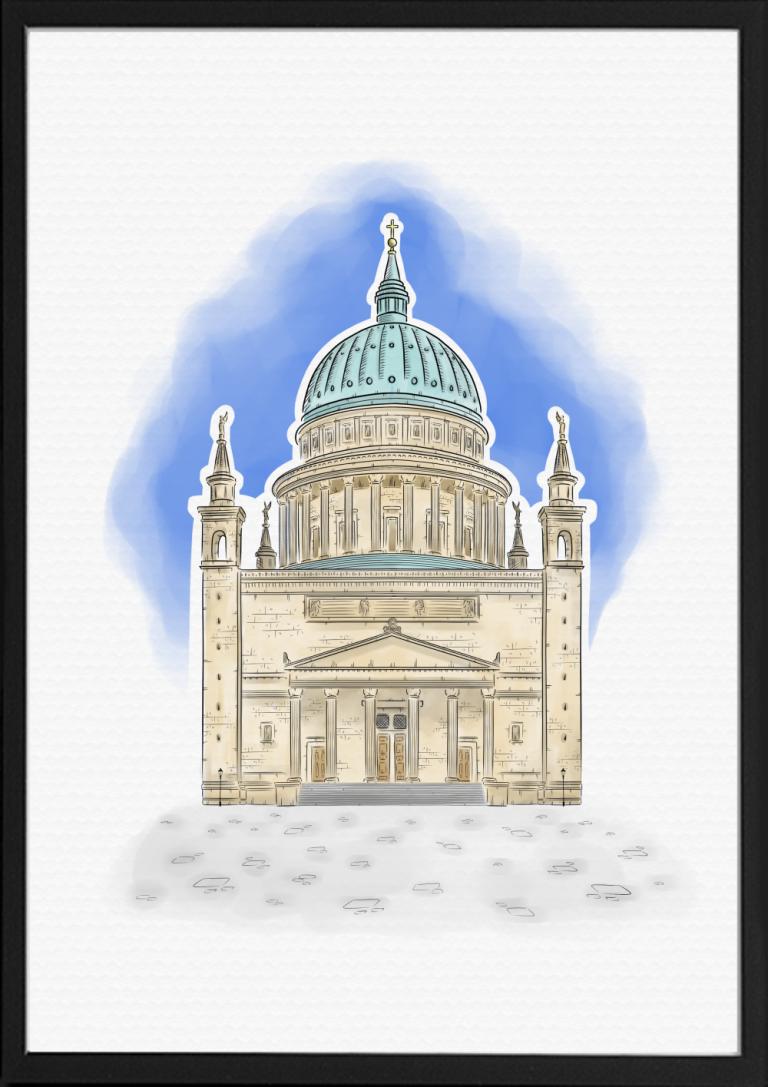 St. Nikolaikirche Potsdam Illustration Farbe | handundstift.de | Der Blog rund um Illustration in Serie