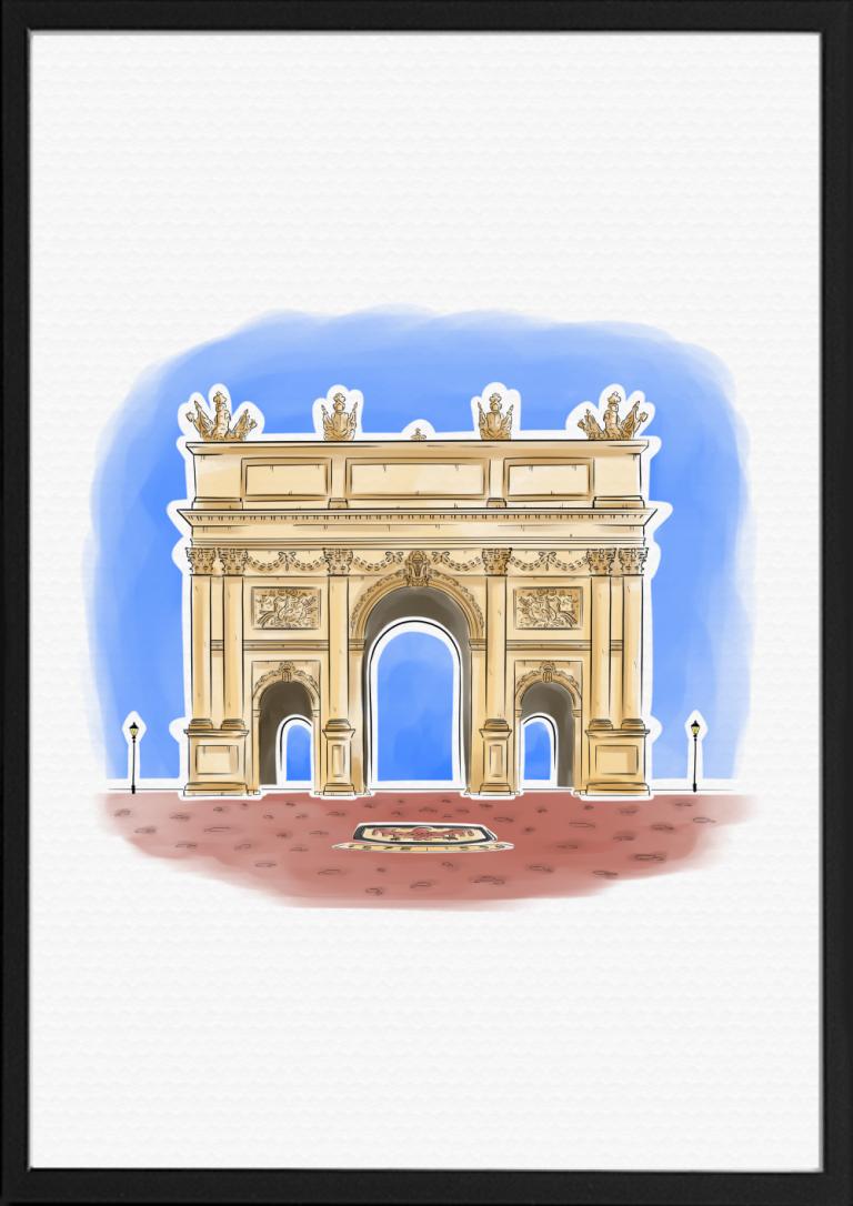 Brandenburger Tor Illustration Farbe | handundstift.de | Der Blog rund um Illustration in Serie