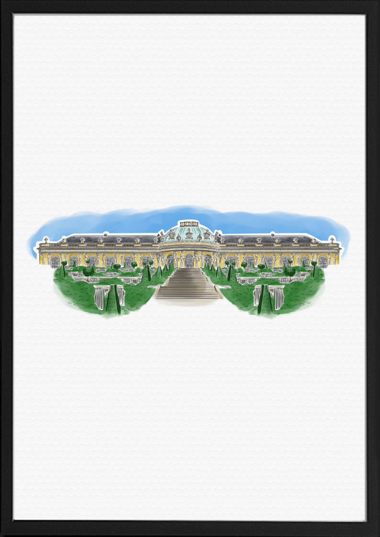 Schloss Sanssouci Potsdam Illustration Farbe | handundstift.de | Der Blog rund um Illustration in Serie