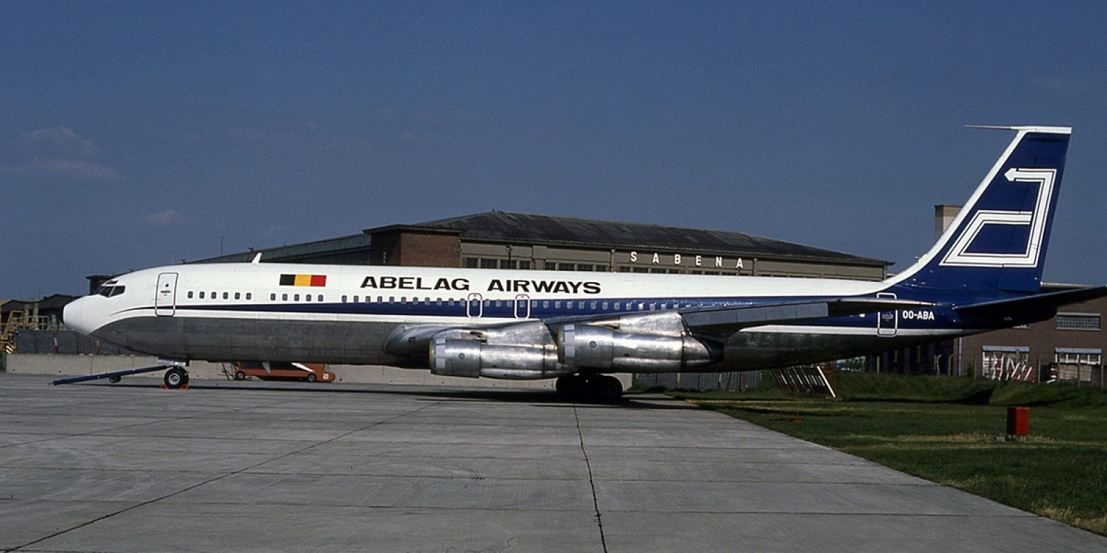 Le Boeing 707-351C OO-ABA (msn 18746) de Abelag Airways, photographié en mai 1979, sera loué à UTA pendant plusieurs mois suite à l'immobilisation forcée des DC-10 suite à plusieurs accidents. Abelag Airways se transformera rapidement en Air Belgium, première du nom.