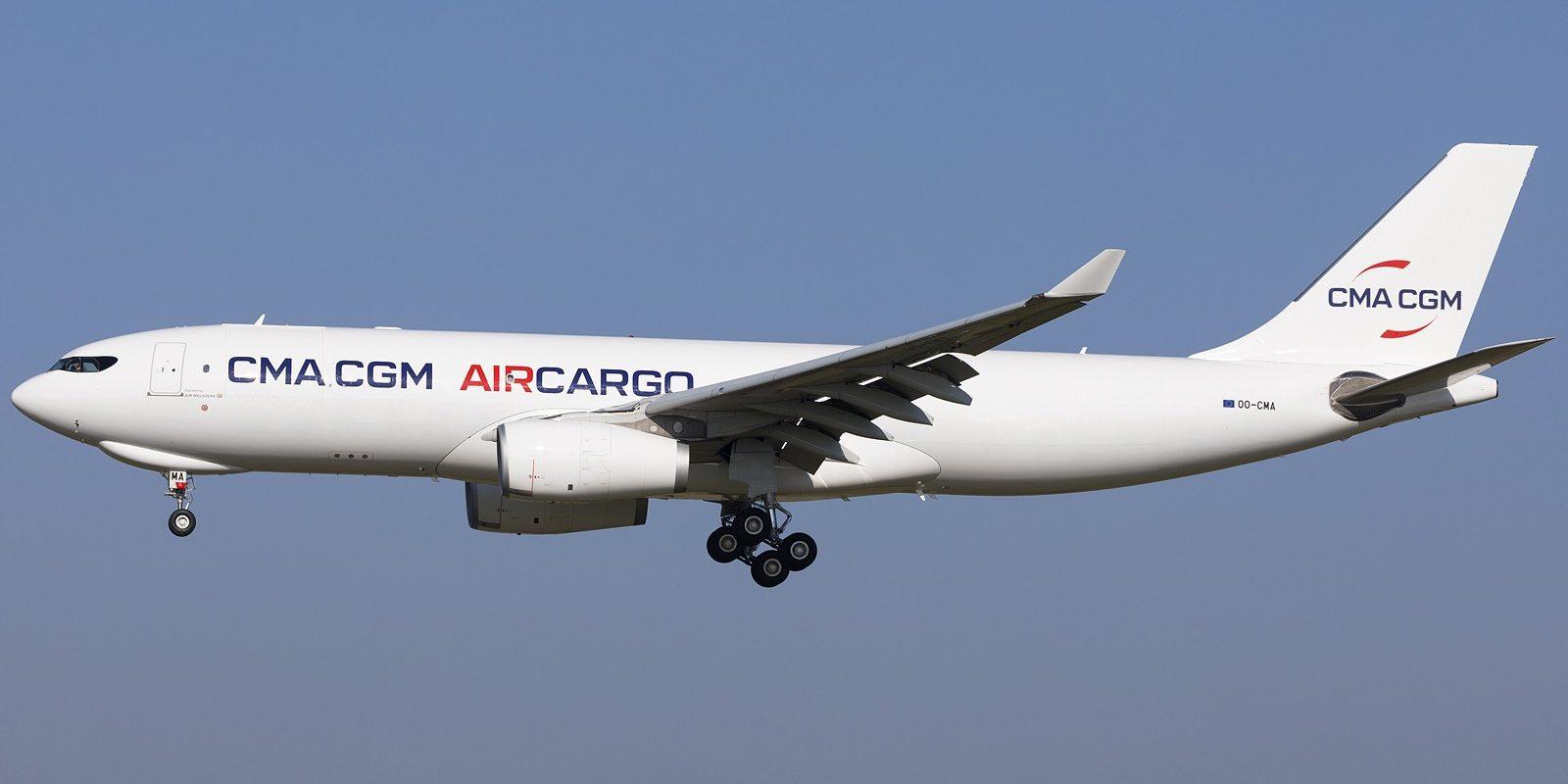 Arrivée de Dublin à Bruxelles le 2 mars du OO-CMA, premier Airbus A330-243F de CMA CGM Air Cargo, avec à droite de la porte avant, la mention « operated by Air Belgium ». (Photo Giovanni Verbeeck)
