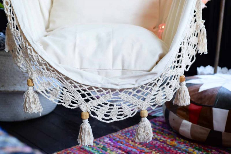Lazy Rest hängfåtölj Deluxe - hängstol large handarbetsdetalj