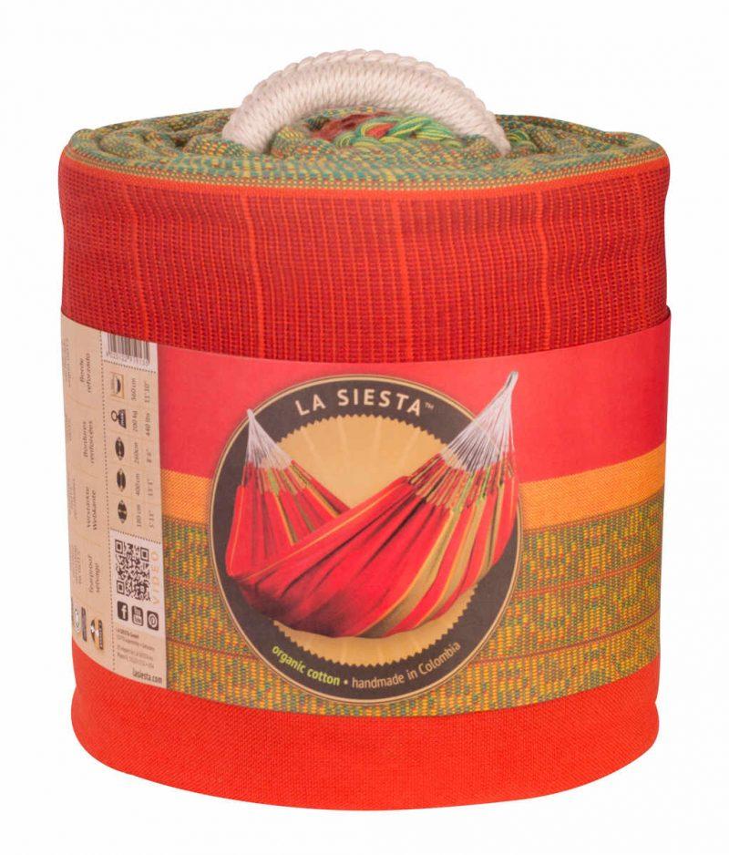 La Siesta familjehängmatta Flora chilli - kingsize - förpackning