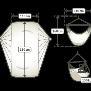 La Siesta Comfort hängstol storlekstabell
