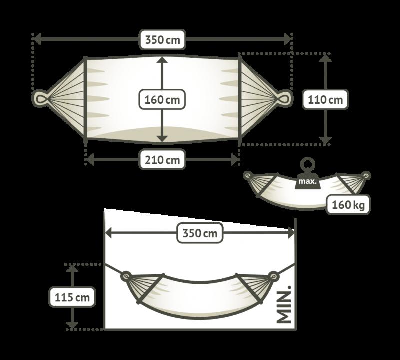 dubbelhängmatta med spridare storlekstabell