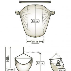 Domingo Basic hängstol - översikt storlek