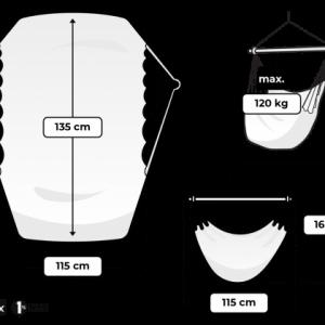 Tropilex hängstol Rope black - översikt storlek
