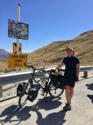 Hannah Scott at the Crown Range summit in New Zealand