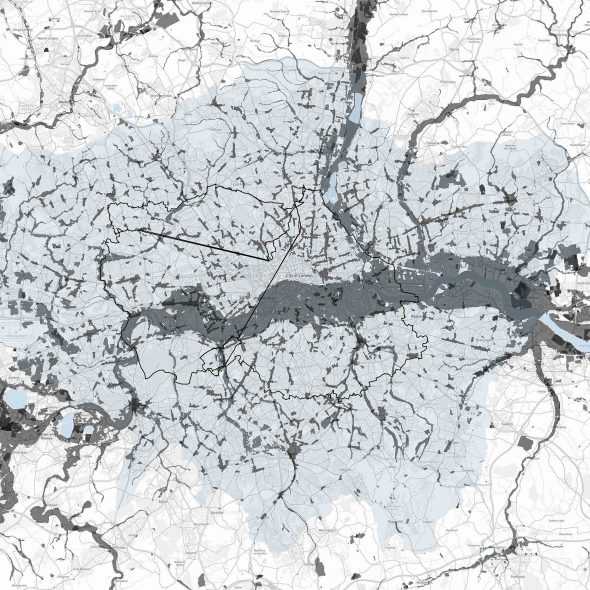 Map showing my cycle route around London, Flood Zones, Landfill, and High Streets Boundaries