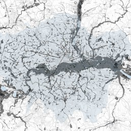 Map of London Flooding, Landfill, High Streets, Cycle Route