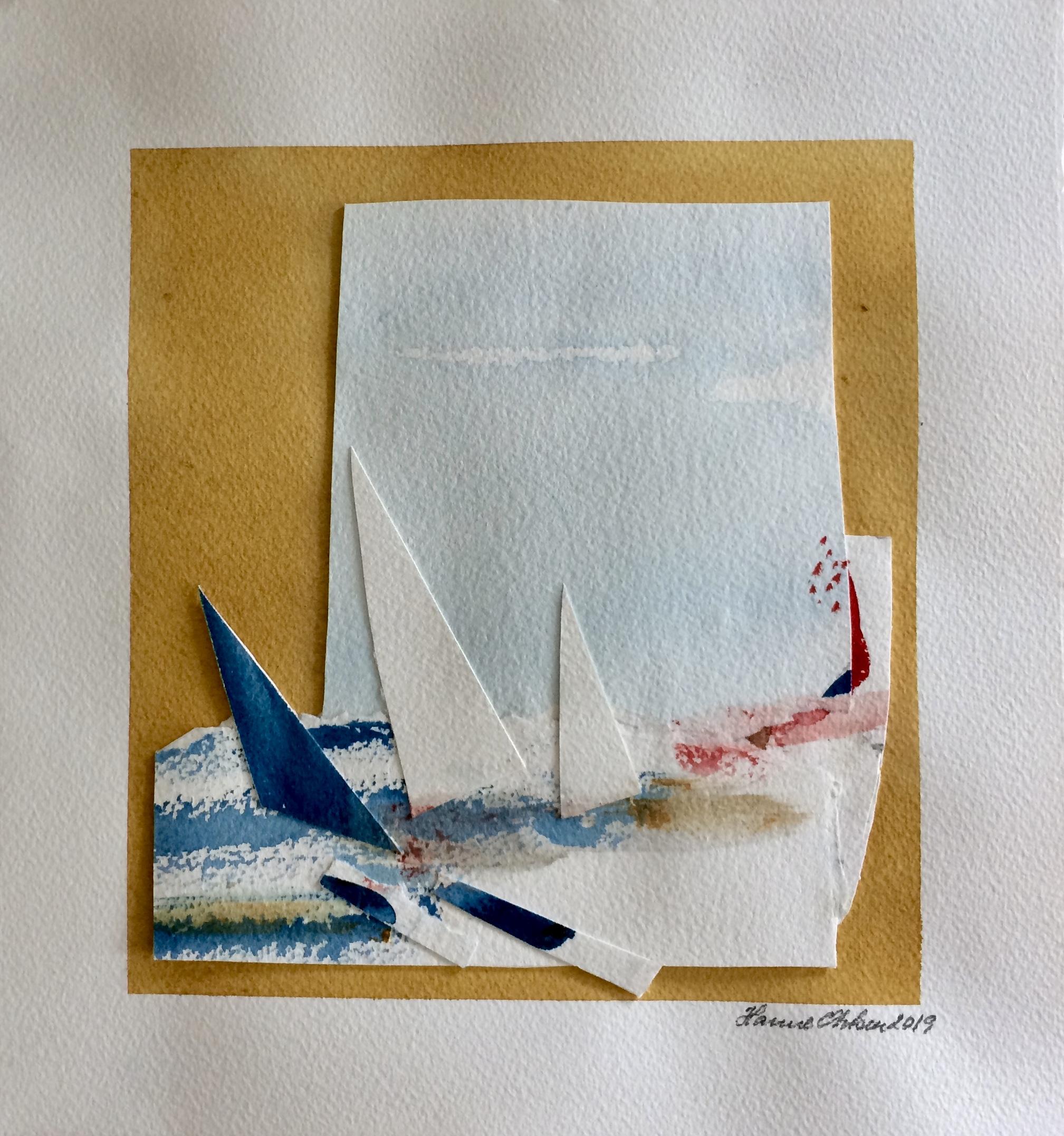 Collage af havet. Hanne Ohlsen