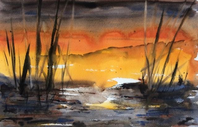 Solopgang ved søen. Hanne Ohlsen.