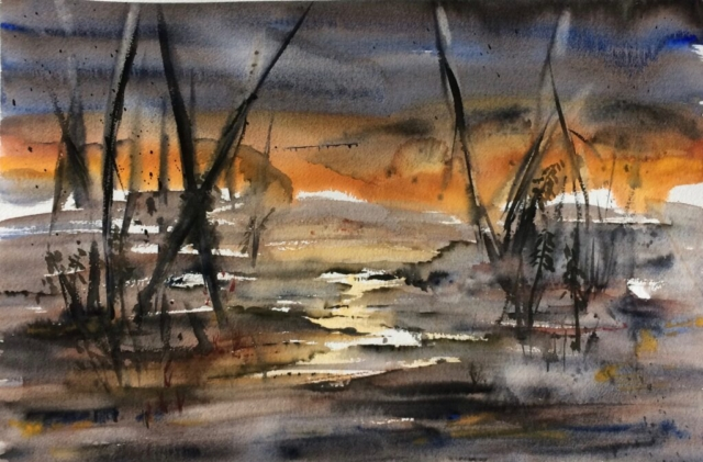 Solnedgang ved søen. Hanne Ohlsen