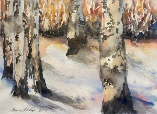 Birkeskoven om vinteren. Hanne Ohlsen