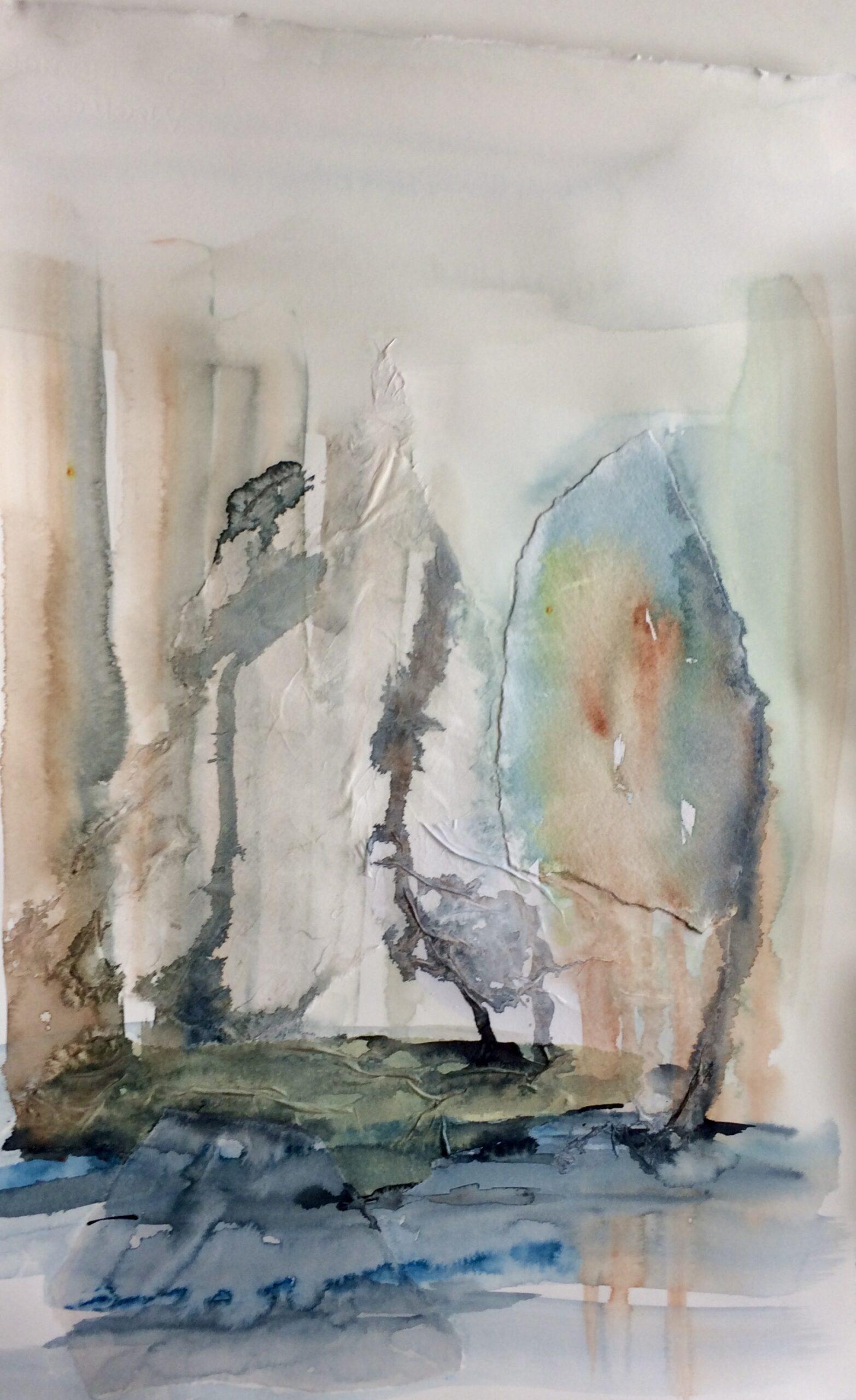 Eksperimentelt. Akvarel og silkepapir. Hanne Ohlsen