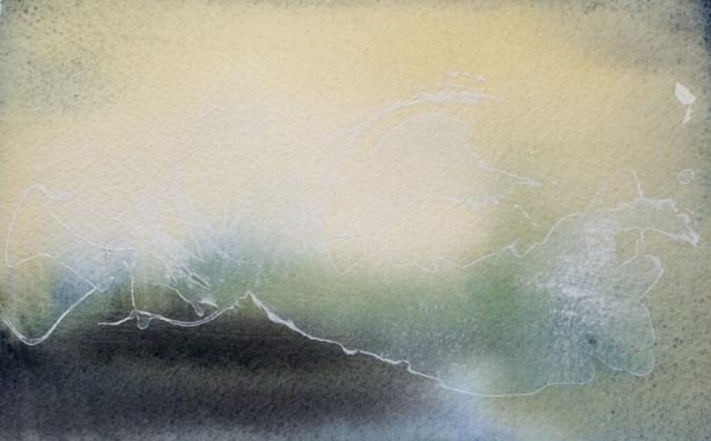 Akvarel og akryl. Eksperimentelt. Hanne Ohlsen