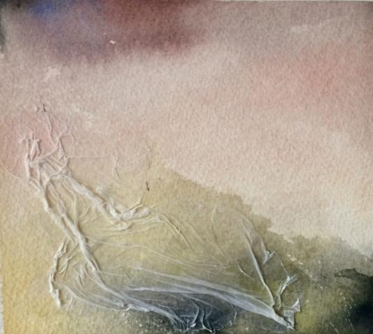 Eksperimentelt. Akvarel, akryl og silkepapir. Hanne Ohlsen