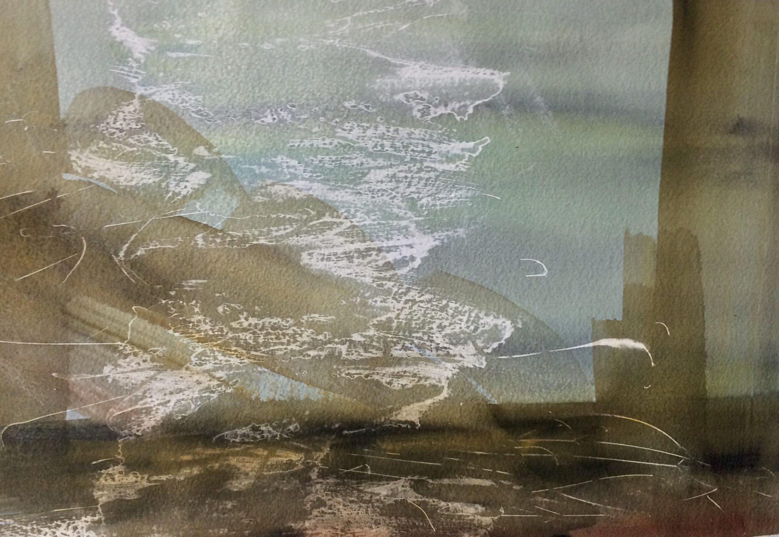 Akryl og akvarel. Eksperimentelt. Hanne Ohlsen