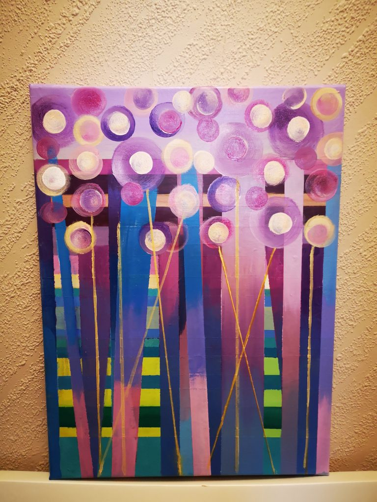 Abstrakt Floral Painting GOLD