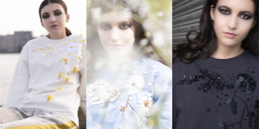 Model wearing flower sweater of the ribbon flower collection | Haruco-vert