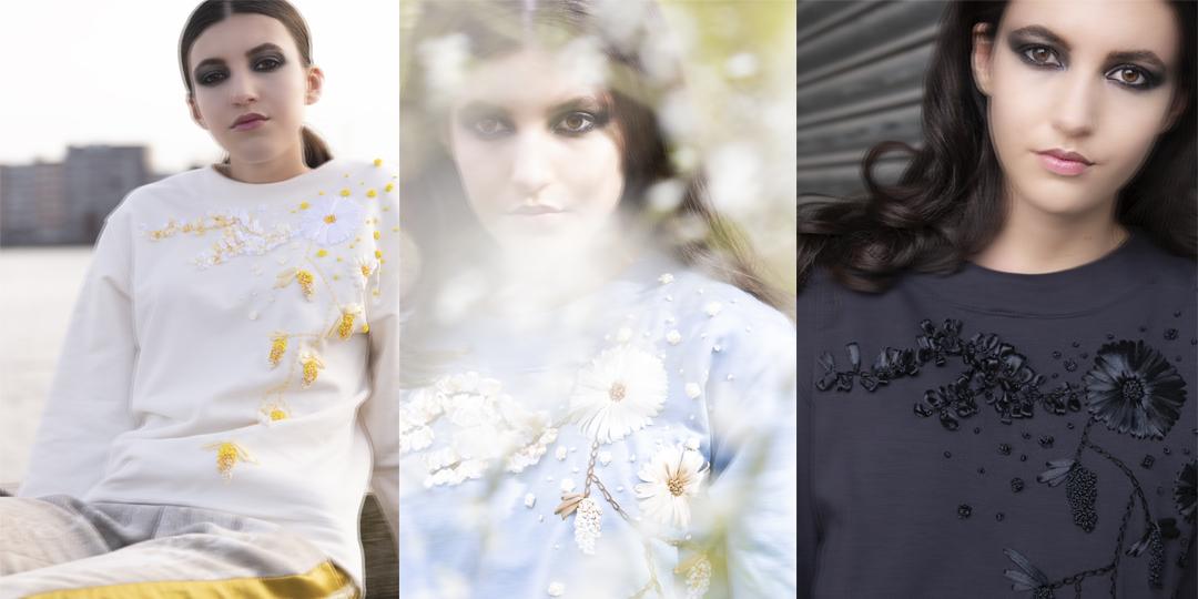 Model draagt Flower sweater van de Ribbon flower collectie | Haruco-vert