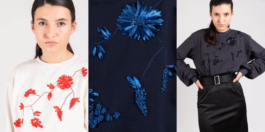 model wearing hand embroidered Bloom sweaters | Haruco-vert