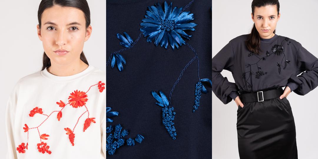 model draagt hand geborduurde Bloom trui| Haruco-vert
