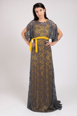 Model wearing double layered women's dress with grey lace and yellow satin | Haruco-vert