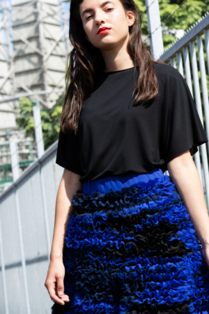 high-fashion ruffled chiffon skirt