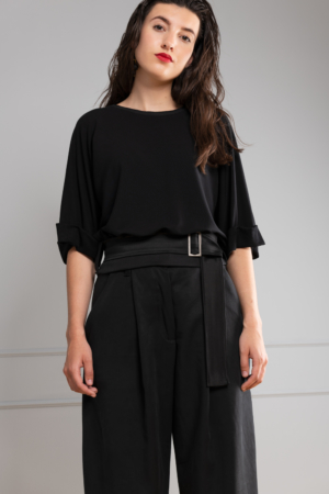 black-bamboo crop-top with satin-belt