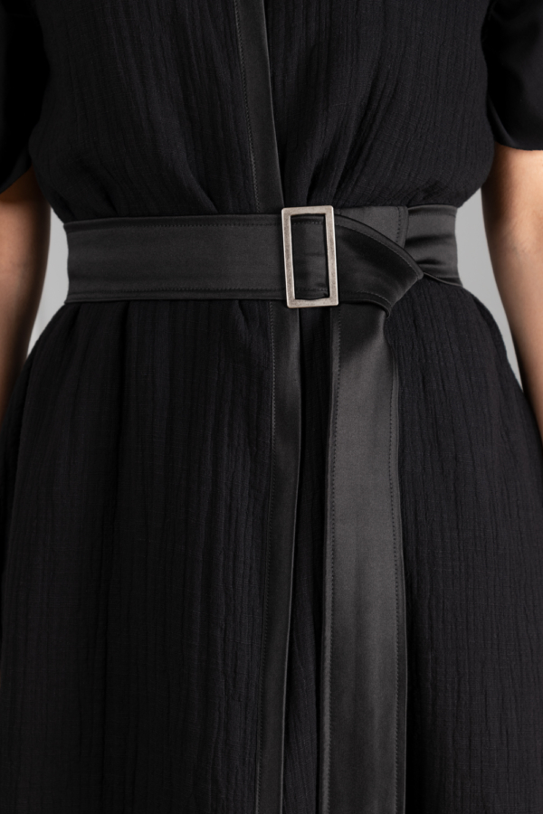 Long black satin belt