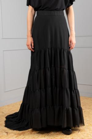 high-fashion chiffon broomstick skirt