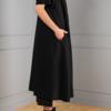 long black A-line cardigan