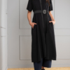 long black A-line cardigan