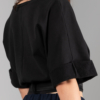 black-cotton-jersey crop-top with satin-belt