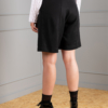 Band-pleated wide-leg black shorts