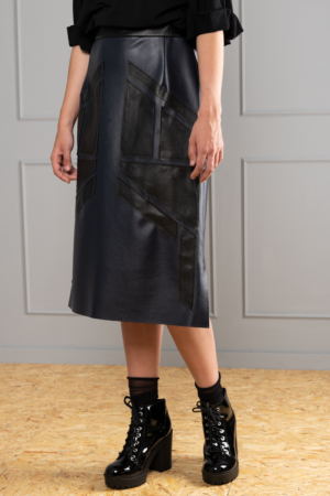 straight leather-look skirt