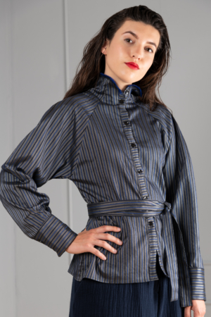 high collared striped womens-blouse