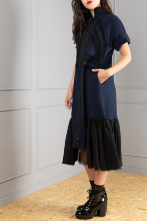 modern eccentric dark-blue dress