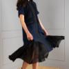 modern eccentric dark-blue dress