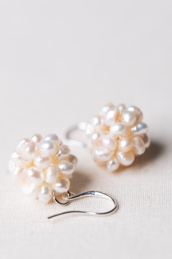 freshwater-pearl cluster earrings