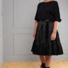 black satin broomstick skirt