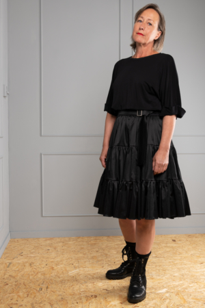 black satin broomstick skirt