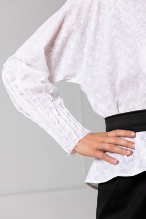 white blouse with broderie-anglaise