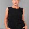 black hydrophilic cotton sleeveless top high neckline