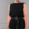 black hydrophilic cotton sleeveless top with black satin belt