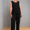 black cotton sleeveless top with black trouwers