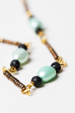 freshwater pearls lava-stone necklace