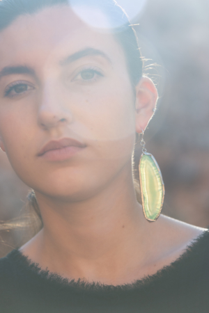 turquoise agate statement earring