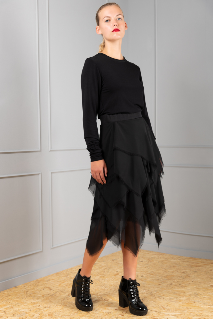 black layered chiffon skirt